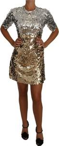 Złota sukienka Dolce & Gabbana w stylu casual z okrągłym dekoltem z długim rękawem