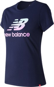 Niebieska bluzka New Balance z krótkim rękawem w młodzieżowym stylu z bawełny