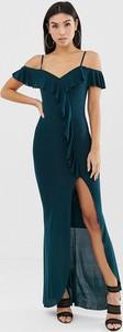 Sukienka Ax Paris z krótkim rękawem z dekoltem w kształcie litery v maxi