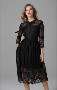 Sukienka Kobiecy Szyk z długim rękawem rozkloszowana