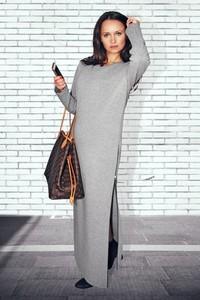 Sukienka Bien Fashion w stylu casual z bawełny z długim rękawem