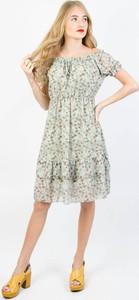 Zielona sukienka Olika midi z krótkim rękawem
