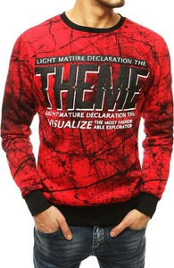 Czerwona bluza Dstreet z bawełny z nadrukiem