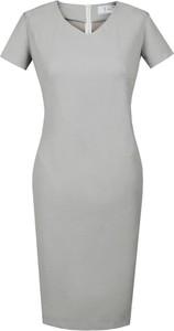 Sukienka Fokus midi dopasowana z krótkim rękawem