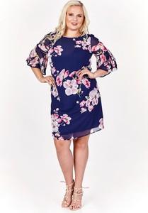 Granatowa sukienka Fokus z żakardu mini