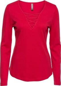 Czerwona bluzka bonprix RAINBOW z długim rękawem