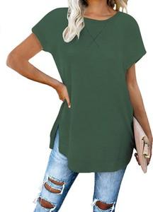 Zielona bluzka Sandbella z okrągłym dekoltem z bawełny