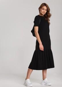 Czarna sukienka Renee z krótkim rękawem midi