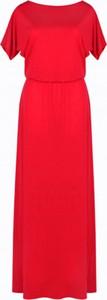 Czerwona sukienka Kasia Miciak design maxi z krótkim rękawem