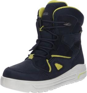 Niebieskie buty dziecięce zimowe Ecco ze skóry