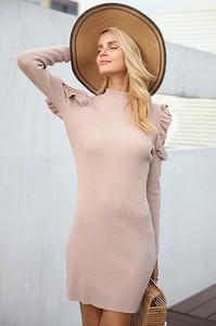 Różowa sukienka damska sukienka aiza beige na co dzień bez wzorów