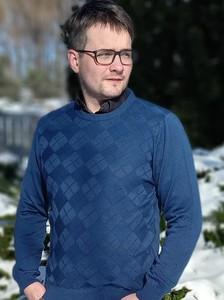 Niebieski sweter M. Lasota z okrągłym dekoltem z bawełny w stylu casual