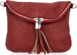 Czerwona torebka Vera Pelle na ramię średnia matowa