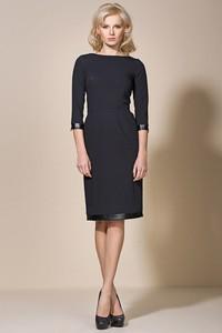 Granatowa sukienka Sale z długim rękawem dopasowana mini