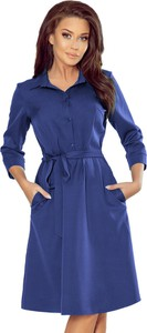 Niebieska sukienka NUMOCO mini z kołnierzykiem z długim rękawem