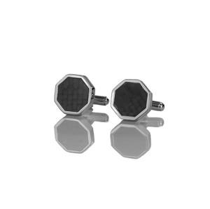 Em Men`s Accessories Spinki do mankietów klasyczne srebrne w kształcie sześciokąta EM 12