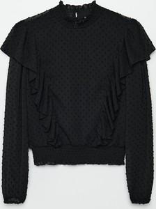 Czarna bluzka Cropp z długim rękawem z szyfonu
