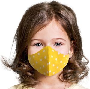 UlubionaMaseczka.pl Dziecięca maseczka ochronna wielorazowa ergonomiczny kształt 100% bawełny żółto miodowa w białe grochy Dziecko