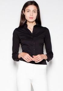 Czarna koszula Venaton z bawełny z długim rękawem