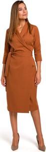 Sukienka MOE w stylu casual dopasowana z długim rękawem