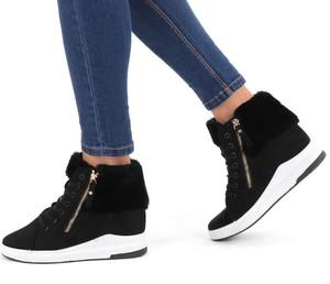 Modoline sneakersy z futerkiem i zamkami kasha czarne