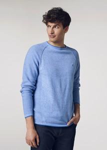 Niebieski sweter Ochnik z okrągłym dekoltem z bawełny w stylu casual
