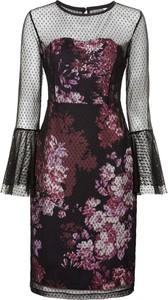 Czarna sukienka bonprix BODYFLIRT boutique z długim rękawem z okrągłym dekoltem dopasowana