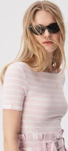 Różowy t-shirt Sinsay w stylu casual