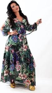 Sukienka Oscar Fashion z dekoltem w kształcie litery v z szyfonu maxi