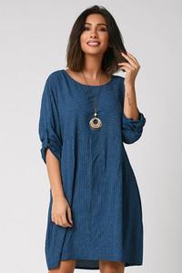 Sukienka Plus Size Company z okrągłym dekoltem z bawełny