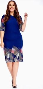 Sukienka N/A midi z okrągłym dekoltem dla puszystych