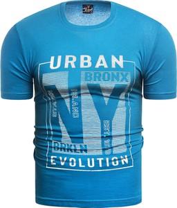 Niebieski t-shirt Risardi z krótkim rękawem