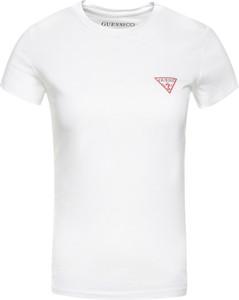 T-shirt Guess w młodzieżowym stylu z okrągłym dekoltem z nadrukiem