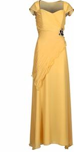 Żółta sukienka Fokus z szyfonu asymetryczna