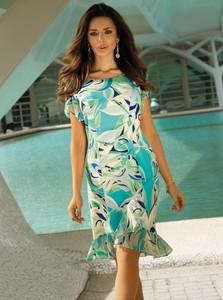 Sukienka Poza z okrągłym dekoltem z szyfonu mini