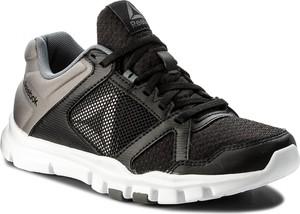 Czarne buty sportowe reebok w sportowym stylu ze skóry ekologicznej sznurowane