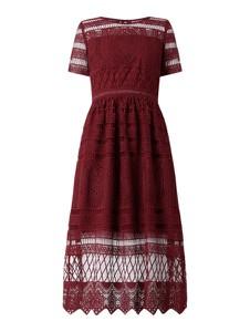 Czerwona sukienka Apart Glamour z bawełny z okrągłym dekoltem