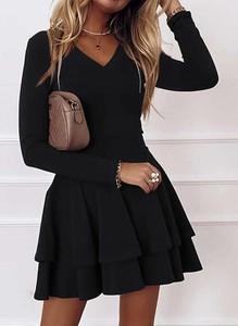 Czarna sukienka Sandbella z długim rękawem z dekoltem w kształcie litery v z bawełny