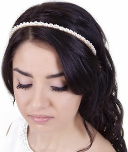 Iloko OPASKA DO WŁOSÓW perełki PERŁY wzór 3D DIADEM ślub