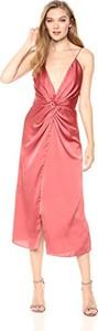Różowa sukienka amazon.de na ramiączkach midi
