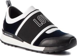Czarne buty sportowe Love Moschino ze skóry ekologicznej w sportowym stylu