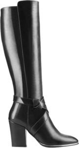 Czarne kozaki Conhpol Woman w stylu klasycznym na zamek ze skóry