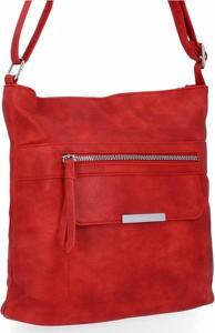 Czerwona torebka Herisson na ramię w stylu glamour