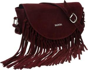 Czerwona torebka Badura z frędzlami ze skóry matowa