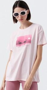 Różowy t-shirt Cropp z bawełny z okrągłym dekoltem