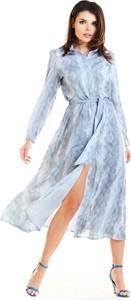 Sukienka Awama z długim rękawem koszulowa maxi