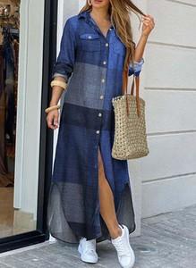 Niebieska sukienka Cikelly z kołnierzykiem maxi koszulowa