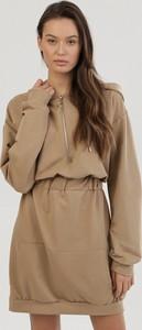 Brązowa sukienka born2be w stylu casual mini