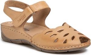 Brązowe sandały eobuwie.pl na niskim obcasie na rzepy w stylu casual