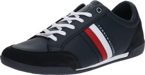 Czarne buty sportowe Tommy Hilfiger ze skóry sznurowane